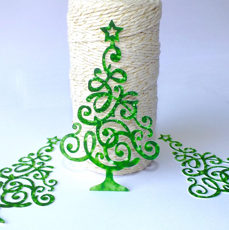 3 x Large Christmas Tree Embellishments Green Filigree Tree