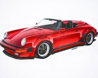 1989 Porsche 911 Speedster 12x24 inch Art Print by Jim Gerdom