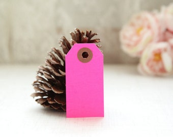 25 - HOT PINK - MINI Gift Tags - 2 3/4 x 1 3/8, Packing Tags, Shipping Tags, Holiday Tags, Favor Tags