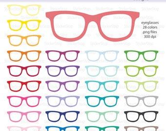Eyeglasses or Glasses Clipart 28 colors, PNG Digital Clipart - Instant download - sunglasses