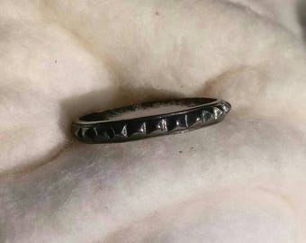 Dakota West Sterling Silver 3mm Gothic Spike Heavy Patina Eternity Ring Band Size 7 3/4 - Vintage