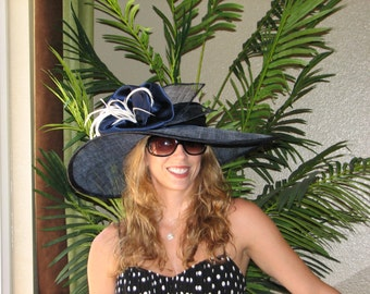 Kentucky Derby   hat. Royal Ascot,  Formal hat.  Del Mar hat . Navy wide brim hat   for  Del Mar races, wedding or other occasions