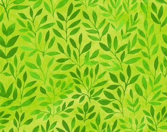 Watercolor Leaves Green Floral Menagerie In the Beginning Fabric