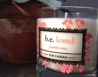 Jasmine Rose, Vegan Soy Candle, Floral, Feminine, be loved, Handmade Boutique Candle