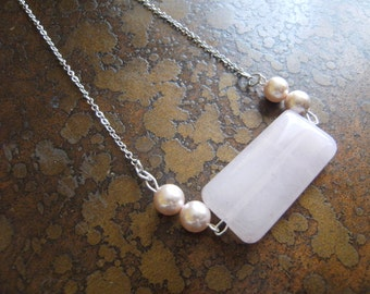 Mary Jane Rose Quartz and Glass Pearl Antique necklace