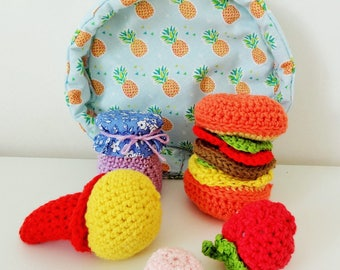 Dinette crochet, 5 pieces and its storage tray