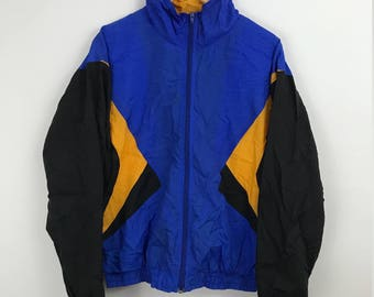 80s Windbreaker. Blue and Gold. Track Jacket. 80s jacket. 80s Clothing. Vintage 80s. Swishy. Blue. Abstract. Streetwear. Activewear. Funky