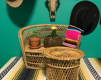 Vintage 1970s Extra Large Sized Wicker Rattan Couch Love Seat Plant Stand with Table Set