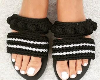 Sandals, Greek sandals, Leather sandals, Crochet sandals, Barefoot sandals, Elegant style, Chick sandals, Summer, Handmade, Made in Greece