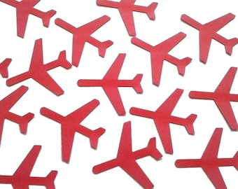 "Red Airplane Confetti 50CT, Time Flies, Airplane Theme Party Decorations, Pilot Confetti - 1.5"" airplanes - No475"