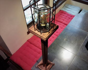 Oak Pedestal Cage Lamp | Mission/Arts and Crafts Inspired Accent/Table Lamp