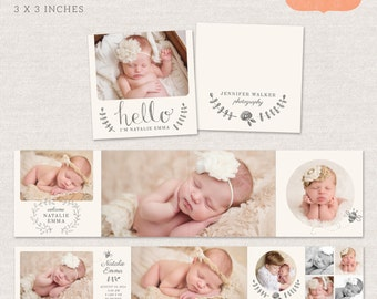 3x3 Mini Accordion Album Template - Newborn album template for photographers MA009 - INSTANT DOWNLOAD