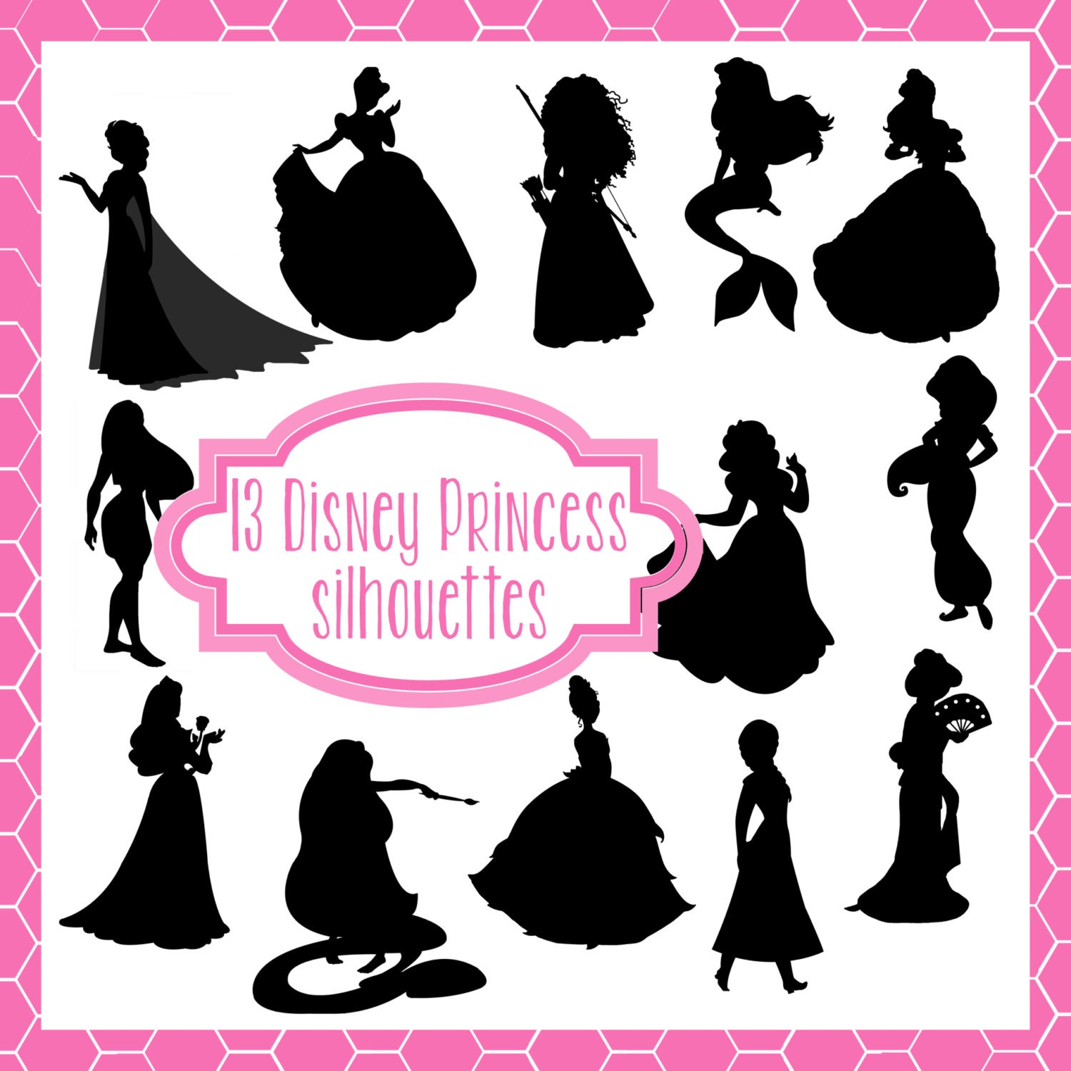 Disney Princess Silhouette PNG Clip Art Icons / Great for