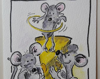 Hand-drawn greeting card download mouse party