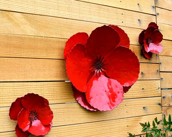 Giant Wall Hanging Poppy - Set of 3 Red Metal Flowers - Perfect Wall or Privacy Fence Accent - outdoor metal wall art - huge outdoor flowers