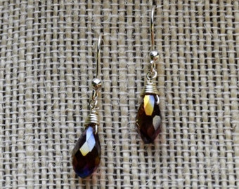 Purple Iridescent Crystal Earrings with Silver Earring Wires (E-43)