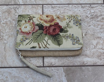 Foldover Clutch in Cotton Floral Upholstery and Coffee Bag Jute with Removable Wrist Strap