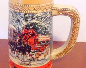 Limited Edition Budweiser Clydesdales stein. Hand crafted by Ceramarte. Rocky mountains, vintage beer mugs, beer steins, man cave decor