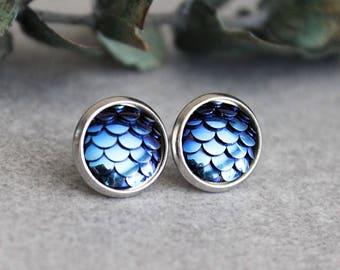 Navy Blue Mermaid Earrings, Dark Blue Fish Scale Earrings, Navy Blue Stud Earrings, Blue Dragon Scale Earrings, Dark Blue Scale Earrings
