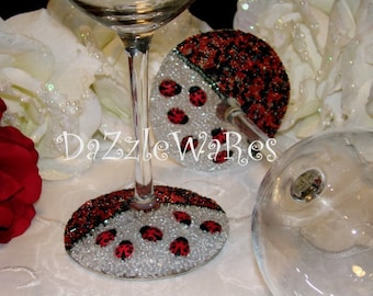 WINE- LADY BUGS Beaded Glass Set of 2 -Gifts-Special Occassion-Hostess Gift-Wedding-Birthday-Anniversary-Home Decor-Summer-Spring-Garden