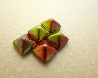 Set of 5 Pyramid beads (beadstud) 2-hole Crystal Magic Apple-PB12-1213 12x12mm