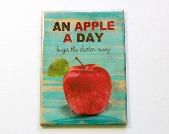 Apple Magnet, An apple a day, Kitchen magnet, Fridge Magnet, Large Magnet, ACEO, Keeps the doctor away, healthy eating, apple (4928)