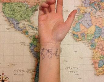 Outline tattoo etsy 2 world map temporary tattoos smashtat gumiabroncs Choice Image