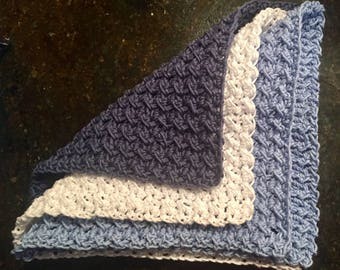 Dishcloths, washcloths set of 3 in blue and white