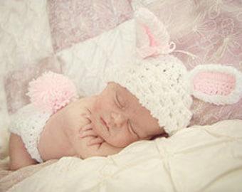 Newborn Bunny Hat and  Diaper Cover Set,  Newborn Bunny Hat, Easter Prop, Newborn Photo Prop, Baby Bunny Hat, Newborn Girl Bunny, Rabbit Hat