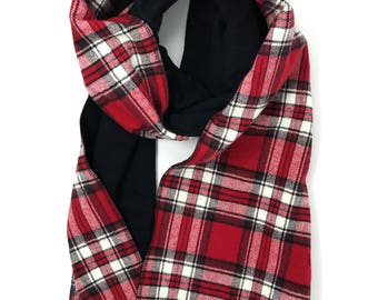 Red and black plaid flannel scarf.