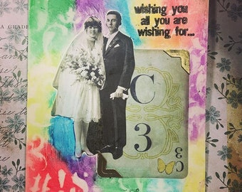 A Couple Love Mixed Media Handmade Card Tim Holtz