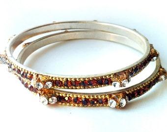 Stacking bangle bracelets,Brown crystal bangles, Gold Bangles ,Set of 4 Crystal Bangles Sale Clearance Bangles Handmade artisan bracelets