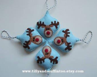 Rendier kerstmis decoratie/Ornament/Bauble Reindeer.Felt Ornament/Decoration/Bauble.Kawaii voelde. Rudolf de rode neus rendieren Ornament.