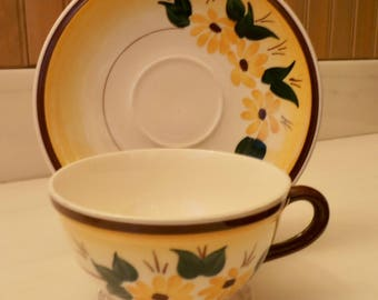 Vernon Kilns Teacup Brown Eyed Susan Teacup and Saucer Ultra Shape