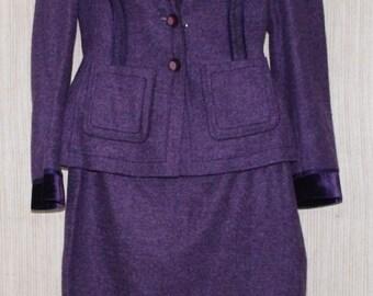 Escada Purple Wool Blend Jacket Skirt Suit Women Size:36/38