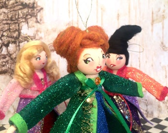Sanderson sisters halloween ornament witch doll witch ornament Hocus Pocus party decor