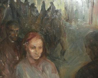 Expressionist oil painting figures portrait