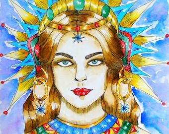 Goddess Art Print Goddess Inanna Ishtar Spiritual Wall Art Fantasy Visionary Art Print Pagan Altar Sacred Feminine