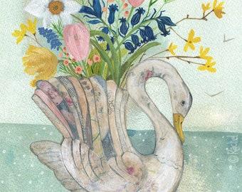 Spring Swan Vase Original Painting