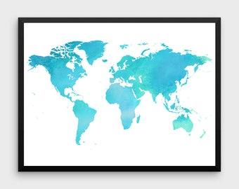 Rose gold world map poster large world map print faux foil turquoise world map poster turquoise watercolor blue turquoise wall decortravel printglobe illustrationnursery decor maptraveler gift gumiabroncs Choice Image