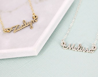 Custom Name Necklace • Dainty Name Necklace • Bridesmaid Gift • Personalized Name Necklace • Bold Cursive font style • Bridal Jewelry