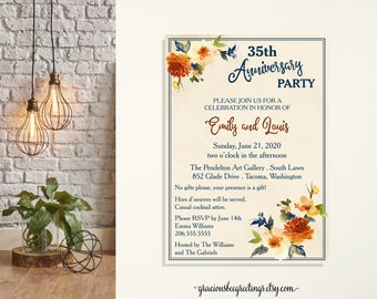 Anniversary Celebration Party Invitation, 35th Anniversary Invite, Fall Wedding Invite, Post Wedding Invite, Eloped Reception, Vow Renewal
