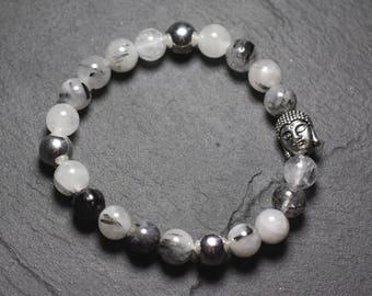 Gemstone - 8mm Tourmaline Quartz and Buddha bracelet