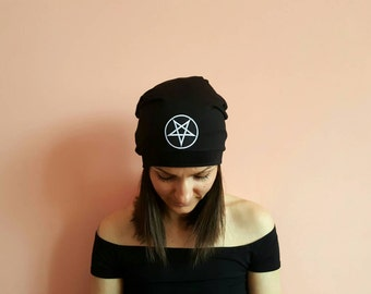 New! PENTAGRAM SLOUCHY BEANIE Hat Black Slouchy Beanie Evil Sign Hat Festival outfits 2018 Devil Sign Goth Hats Gothic Accessories