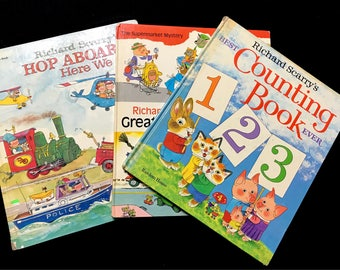 Vintage Richard Scarry Book Set/Golden Book/Hop Aboard/Counting Book/Great Big Mystery Book