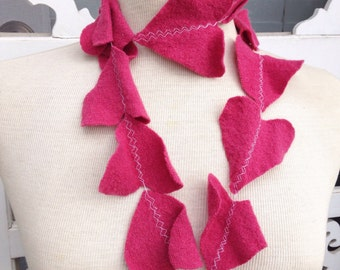 Handmade dark pink felted wool heart scarf. Made from felted wool sweaters.