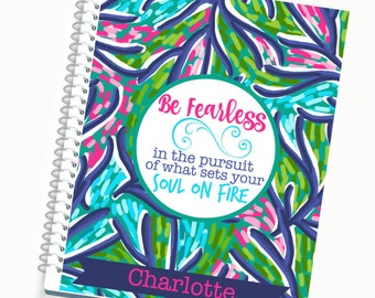 2017 Daily Planner, BE FEARLESS pretty Personalized Planner, Weekly Planner, Planner Accessories, Cute Planners, Lily Pulitzer Inspired