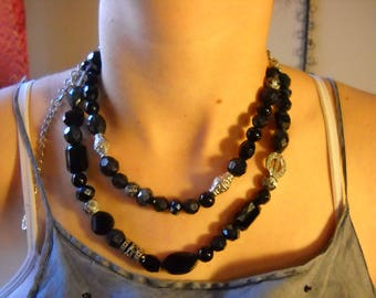 Black and silver, double strand necklace