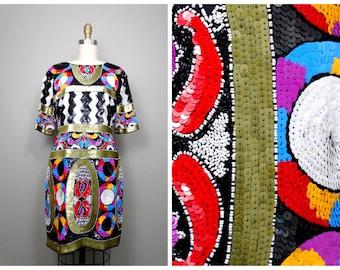 80's Geometric Sequin Dress / Neon Colorblock Sequined Party Dress / Chevron Sequined Trophy Dress XL