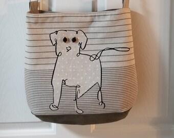 Shoulder bag, tote, purse, spunky Dog, beige designer fabric  and olive green swede,